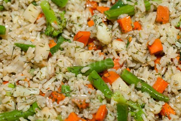 Egészséges étrend barna rizs zöldség narancs szín Stock fotó © wjarek