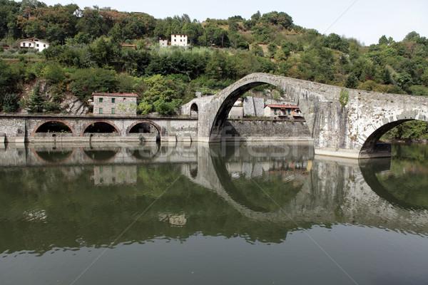 Ponte della Maddalena across the Serchio. Tuscany. Bridge of the Devil Stock photo © wjarek
