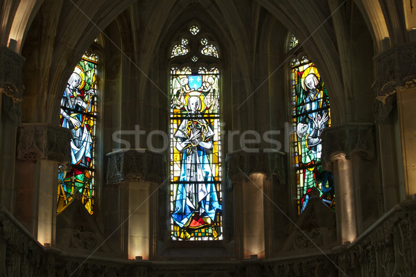 The stained glass windows inside Chapel St. Hubert  in Amboise, France.  Stock photo © wjarek