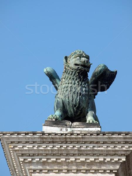 Venedik heykel Yunan mitoloji canavar aslan Stok fotoğraf © wjarek
