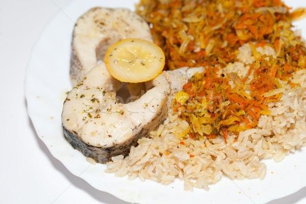Egészséges étrend barna rizs zöldség étel konyha Stock fotó © wjarek