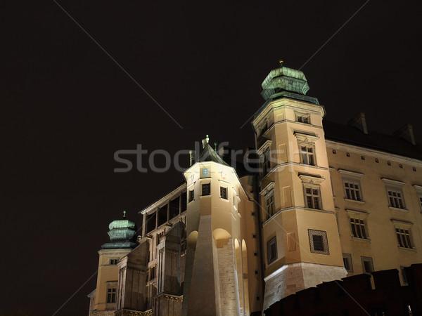 Királyi kastély Krakkó domb éjszaka folyó Stock fotó © wjarek