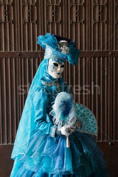 The blue lady in the carnivalesque costume Stock photo © wjarek