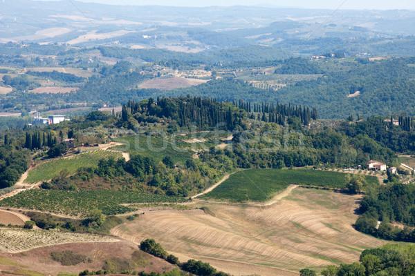 холмы вокруг Тоскана дома здании пейзаж Сток-фото © wjarek