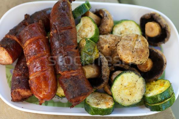 Barbacoa delicioso carne a la parrilla parrilla fiesta jardín Foto stock © wjarek