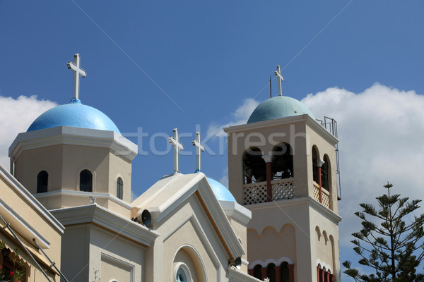 Kerk stad deur venster Blauw eiland Stockfoto © wjarek