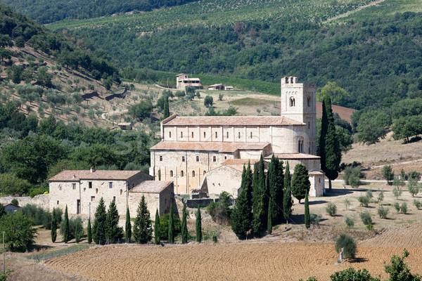 Stok fotoğraf: Manastır · Toskana · İtalya · çim · orman · manzara
