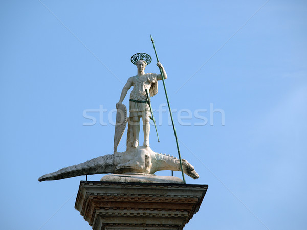 Venice. Piazetta - sculpture of St. Theodore, Venice's first patron Stock photo © wjarek