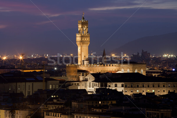 Florence, Night view of Palazzo Vecchio from Piazzale Michelangelo Stock photo © wjarek
