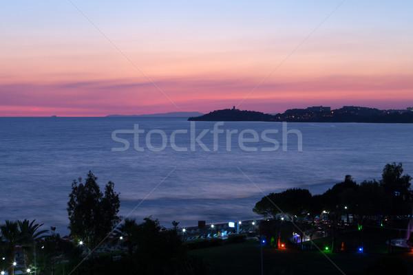 Zonsondergang zee hemel zomer zonsopgang Rood Stockfoto © wjarek