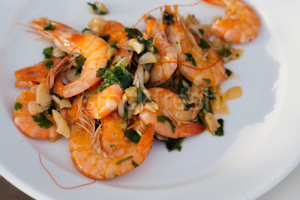 Fried shrimps with the garlic and the parsley Stock photo © wjarek