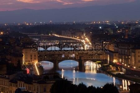 Olaszország város tájkép fény híd utazás Stock fotó © wjarek