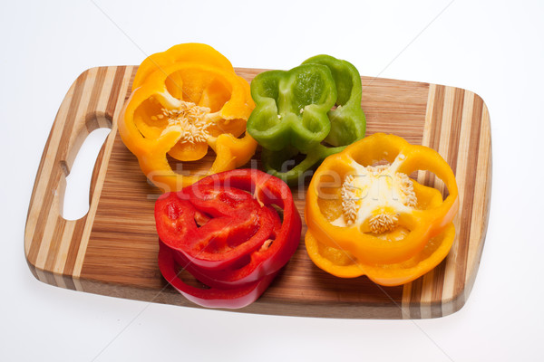 close up of red, yellow and green peppers Stock photo © wjarek
