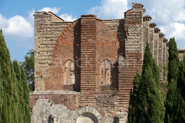 Apátság Toszkána Olaszország ablak templom tégla Stock fotó © wjarek
