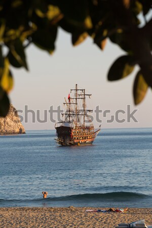 Alanya - the pirate ship at the beach of Cleopatra Stock photo © wjarek