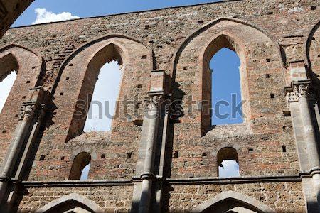 Apátság Toszkána Olaszország épület ablak templom Stock fotó © wjarek