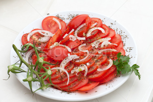 Dilimleri domates soğan otlar gıda yaz Stok fotoğraf © wjarek
