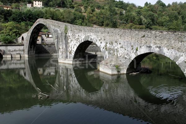 Toszkána híd ördög tájkép folyó turizmus Stock fotó © wjarek