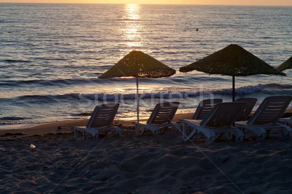 Plaj deniz gökyüzü yaz gündoğumu Stok fotoğraf © wjarek