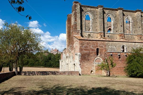 Yan duvar manastır Toskana Bina pencere Stok fotoğraf © wjarek
