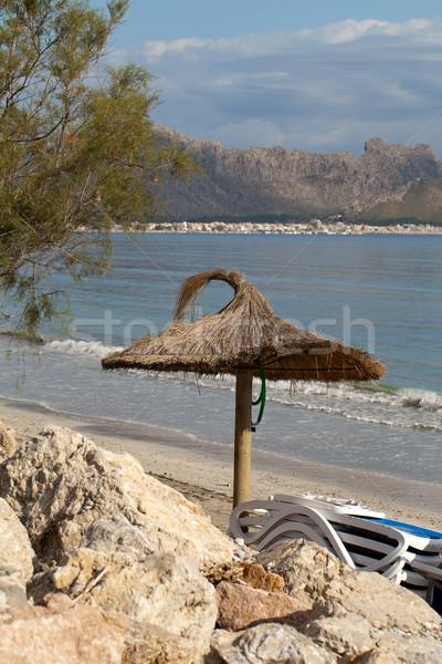 Sétapálca napernyő kikötő Spanyolország tengerpart tájkép Stock fotó © wjarek