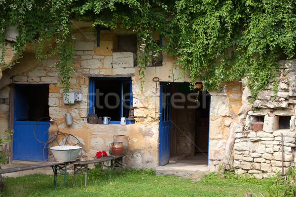 the homestead of troglodytes forged in the rock near Saumur Stock photo © wjarek