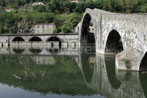 Toskana köprü şeytan manzara nehir turizm Stok fotoğraf © wjarek