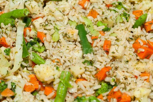 Dieta saudável marrom arroz vegetal comida laranja Foto stock © wjarek
