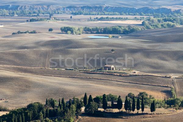 Tájkép Toszkána Olaszország fa nyár ősz Stock fotó © wjarek