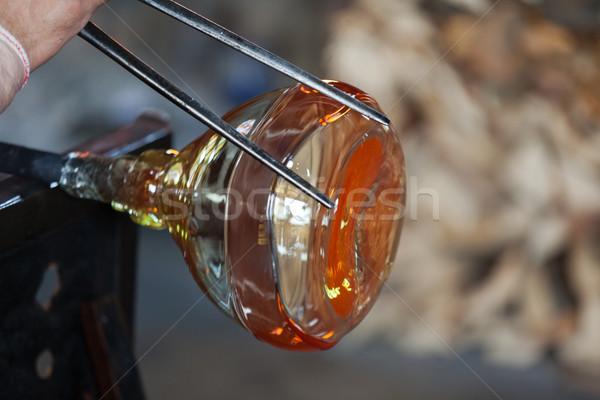 üveg fúvó óvatosan készít termék tűz Stock fotó © wjarek