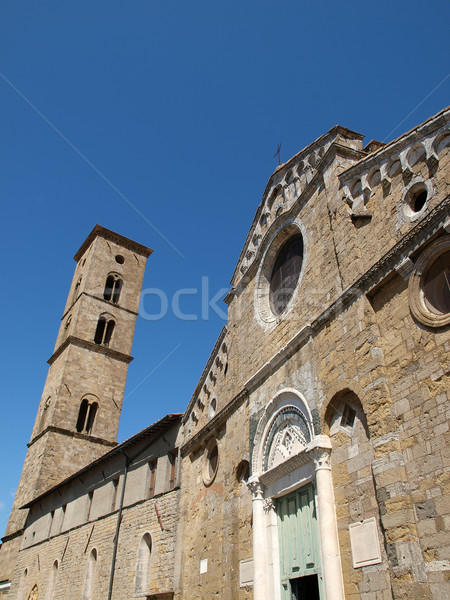 Volterra - the facade of Duomo and bell tower  Stock photo © wjarek