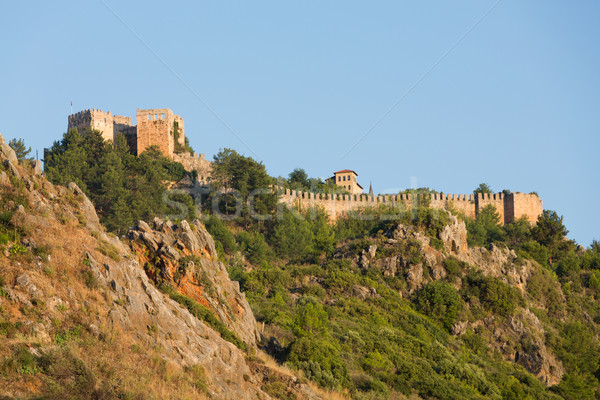 The castle in Alanya built on the hill above the beach of Cleopatra. Turkey Stock photo © wjarek