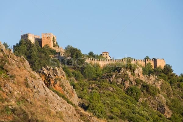 Kasteel heuvel boven strand Turkije natuur Stockfoto © wjarek