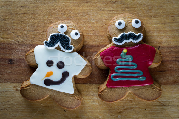 funny holiday gingerbread cookies Stock photo © wollertz