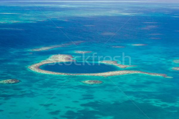 Stock fotó: Nagyszerű · kék · lyuk · légifelvétel · part · Belize