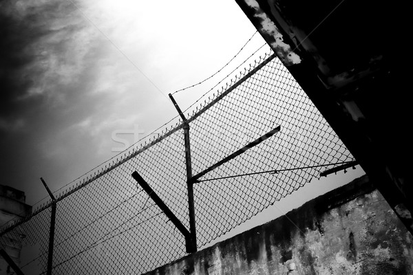 Barbed Wire Overhead View from Alcatraz Island Prison Stock photo © wolterk