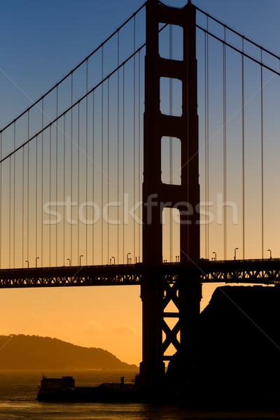 垂直 画像 ゴールデンゲートブリッジ 日没 空 水 ストックフォト © wolterk