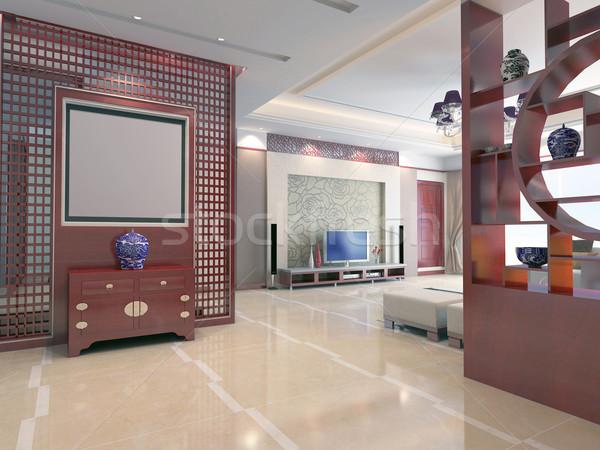 3d render modern belső nappali terv ház Stock fotó © wxin