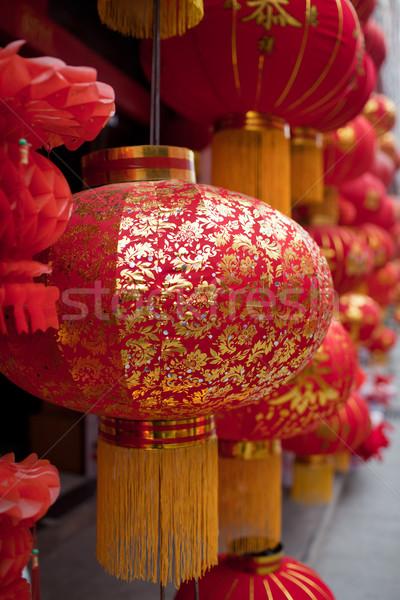 Piros lámpás kínai hagyományos minták tavasz Stock fotó © wxin
