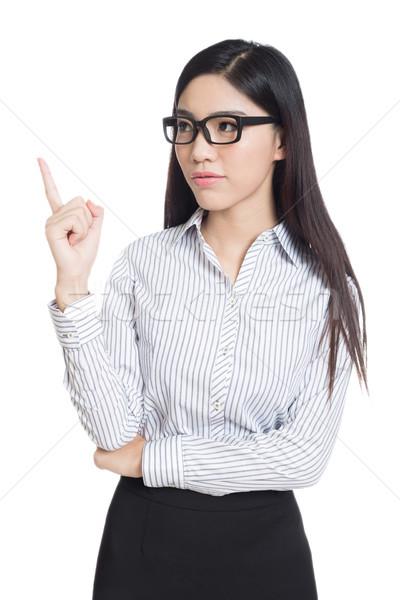 Mosoly üzletasszony előadás ujjak hosszú haj modell Stock fotó © wxin
