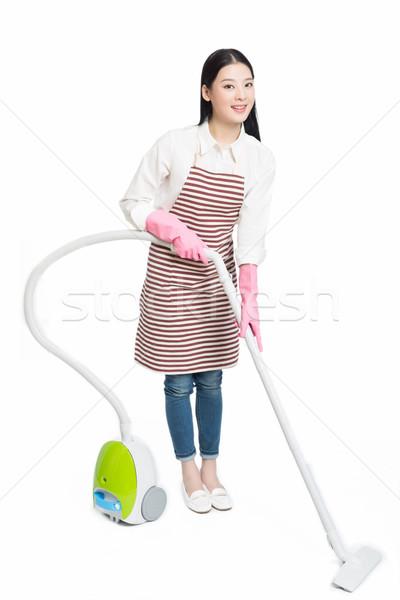 Chinese jonge vrouw stofzuiger jonge brunette vrouwelijke Stockfoto © wxin