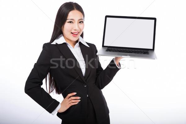 üzletasszony izolált fehér notebook iroda munka Stock fotó © wxin