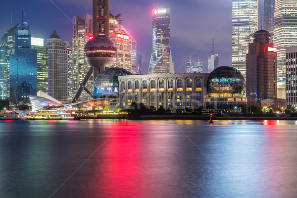 shanghai skyline at night Stock photo © wxin