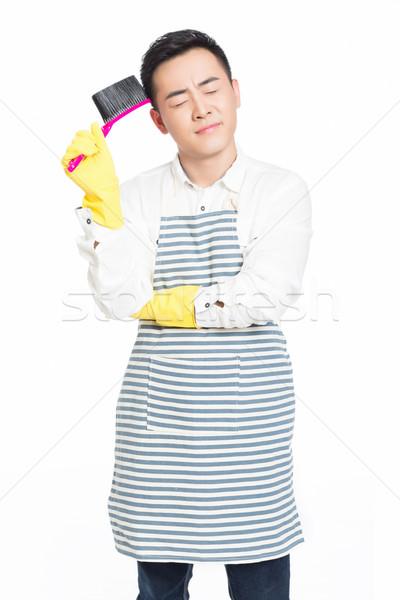 Masculino limpador quadro limpeza casa homem Foto stock © wxin