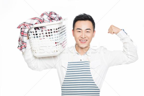 Maschio cestino di lavanderia uomo isolato Foto d'archivio © wxin