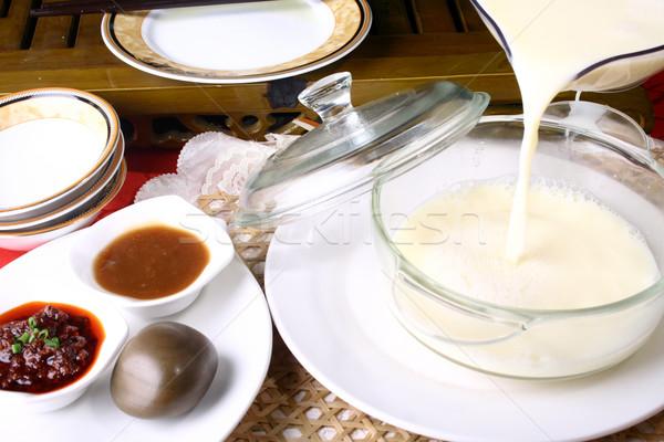 Stock fotó: Kína · finom · étel · szójaszósz · tej · reggeli
