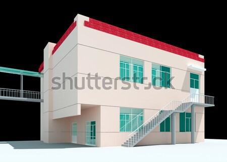 3D architectural construction immeuble de bureaux modernes ville Photo stock © wxin
