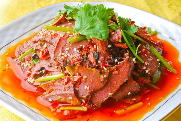 Varkensvlees chili saus sesam voedsel restaurant Stockfoto © wxin