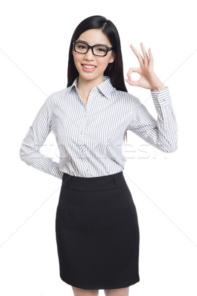Glimlach zakenvrouw show vingers lang haar model Stockfoto © wxin