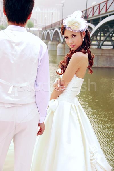 Bruiloft foto's man jonge vrouwelijke witte Stockfoto © wxin